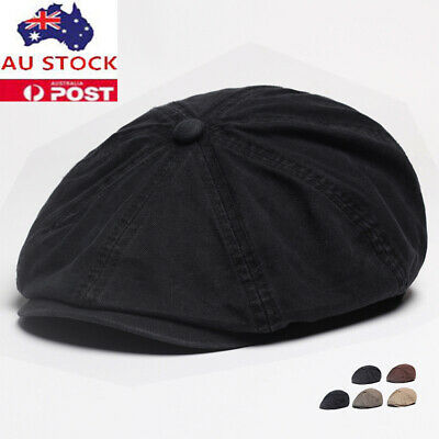 a22f842559e61 Mens Solid Cotton Gatsby Cap Ivy Hat Golf Driving Summer Sun Flat Cabbie  Newsboy