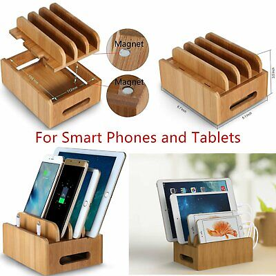 Bamboo Multi-device Cords Charging Station Docks for Smart Phones and Tablets