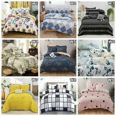 Cotton Floral Duvet Doona Quilt Cover Set Queen King Size Bedding Pillowcase New