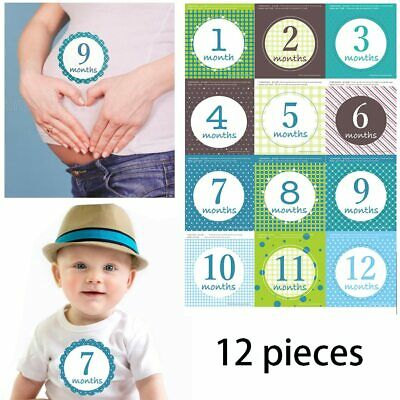 12PCS Baby Monthly Sticker Photography Props Milestone Stickers Record Grows Up
