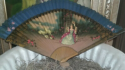 """Antique Hand Painted Wooden Victorian Folding Fan, """"French Couple"""""""