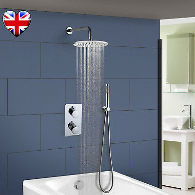 2 Way Outlet Concealed Thermostatic Bathroom Shower Mixer Valve Chrome Brass