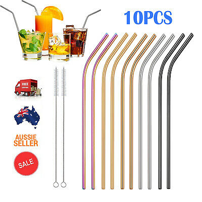10x Stainless Steel Metal Drinking Straws Bent Reusable Washable Straw + Brush