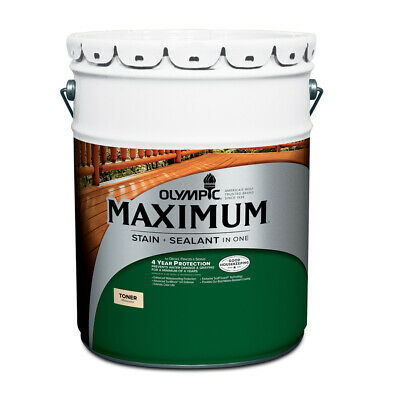 Olympic Maximum Wood Stain and Sealer in One 5 Gallon Toner Honey Gold
