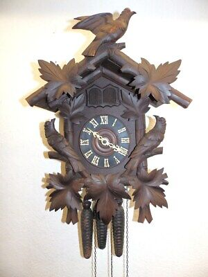 Old Black Forest  Cuckoo Quail Clock With 3 Weights Sign. Freiburg Germany