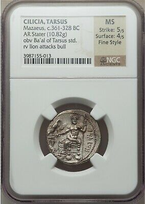 Ancient Coin, Cilicia, Tarsus, Mazaeus, 361-328 BC, AR Stater, NGC MS Fine Style
