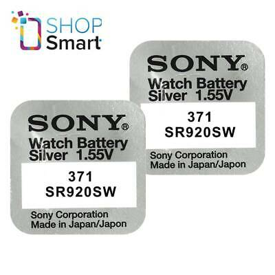 2 Sony 371 Sr920Sw Batteries Silver Oxide 1.55V Watch Battery Exp 2021 New