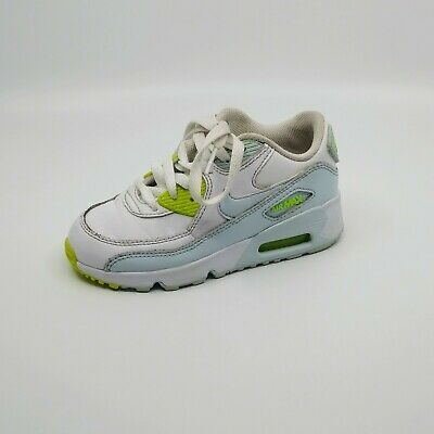 7a68d471fd Nike Kids Air Max 90 Leather (Gs) Size 12 White Blue Yellow 833376 100
