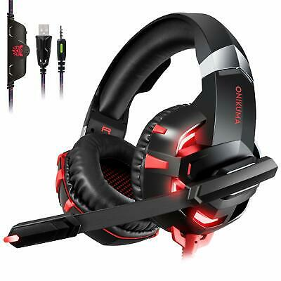 ONIKUMA K2A Gaming Headset Mikrofo LED Stereo Bass für PC Laptop PS4 Xbox one S