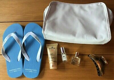 Holiday bundle Ragdale Hall flip flops+Clarins bag+Nuxe after sun+hair claw