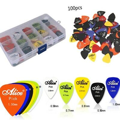 100 x Guitar Picks Plectrums Holder ABS Acoustic Bass Electric Pick Gauges