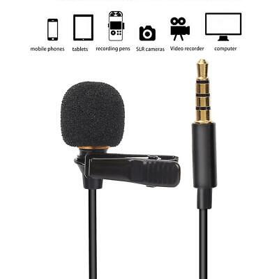 3.5mm Clip-on Lapel External Lavalier Microphone for Cell Phone Laptop Black AL