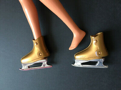 Gold colour ice skate shoe boot fit Barbie large flat feet doll ShimmyShim