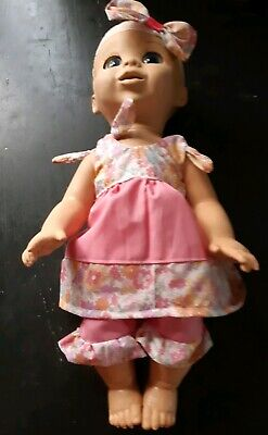 Homemade Baby Luvabella Pink  with Flowers Set with matching headband