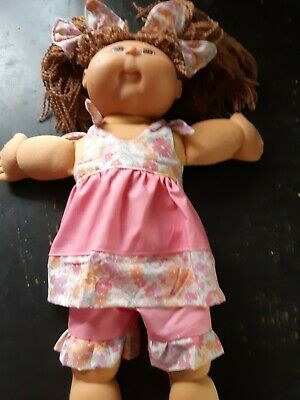 Homemade Cabbage Patch Pink with Flowers Set and Hair Ties