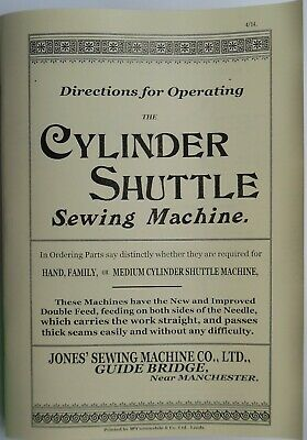 JONES CYLINDER SHUTTLE C.S.Family & Medium sewing machine manual 1890's to 1950