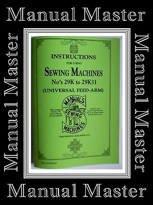 Singer 29k to 29K31 Sewing Machine Instructions Manual Booklet