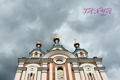 2 Digital Picture Photo Digitales Foto orthodox temple on background of clouds