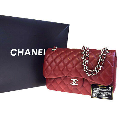 2090a519d89590 Auth CHANEL Logos Jumbo Double Flap Chain Shoulder Bag Caviar Leather BX  879L270
