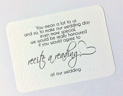 WILL YOU Recite a Reading at our Wedding card/invite - can be personalise