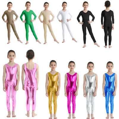 Girls Gymnastics Long Sleeve Leotards Kids Ballet Dance Unitards Catsuit Costume