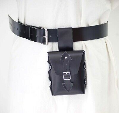 Medieval-LARP-SCA-Re-enactment-HANG FROM BELT HERO LEATHER BAG & BELT SET