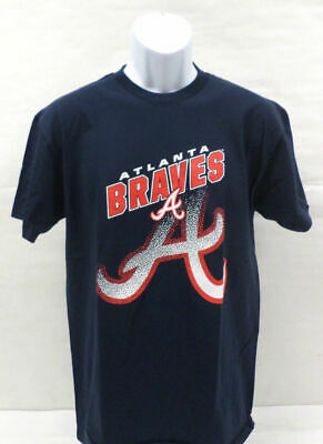 MLB Atlanta Braves Mens Shirt Short Sleeve Navy Blue Choose Your Size New w Tags