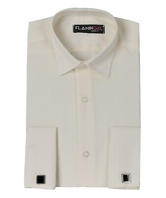 Flamingo Boys Double Cuff Classic Collar Ivory Cream Formal Shirt with Cufflinks