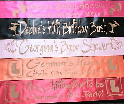 ROSE GOLD PRINT NEW! - Hen Sashes - Personalised - Birthday 21st 40th 50th 18th