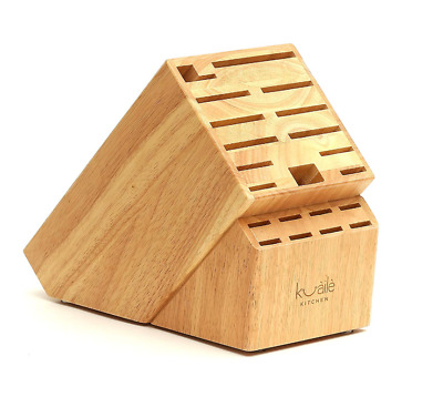Knife Storage Block 21 Slot Solid Wood Without Knives Tropical Wood by Kuaile