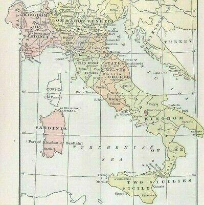 Vintage Historical Map The Italian States1856 Engraved Color