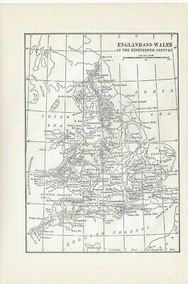 Vintage Historical Map England and Wales in the Nineteenth Century Engrave