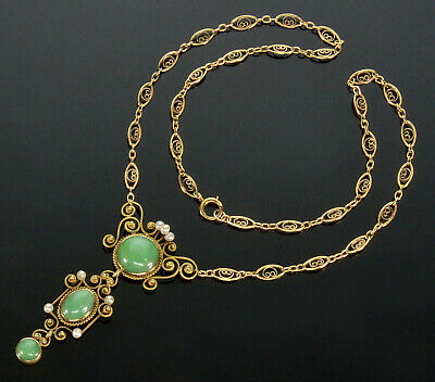 Antique Edwardian 14K Jadeite Jade Pearl Lavalier Necklace