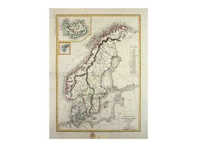 Sweden Norway Denmark antique map Dussieux 1845