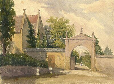 Garden Wall, West Lavington Manor, Wiltshire - Late 19th-century watercolour