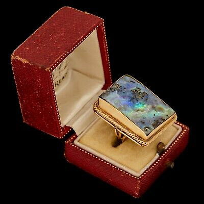 Antique Vintage Deco Retro 14k 18k Gold Australian Black Fire Opal Ring Sz 3.75