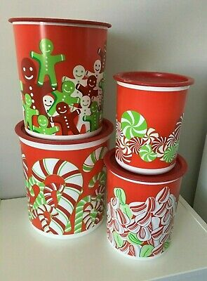 Tupperware NEW One Touch Canister Set 4 Holiday Designs Flour Sugar Tea Coffee