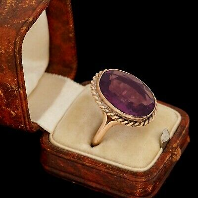 Antique Vintage Nouveau 14k Rose Gold Faceted Siberian Amethyst Paste Ring Sz 7