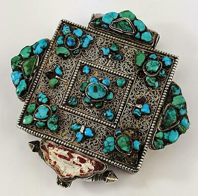 TIBETAN Antique SILVER FILIGREE & TURQUOISE AMULET BOX GA'U 19th Century​