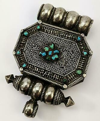 TIBETAN Antique SILVER & TURQUOISE AMULET BOX GA'U 19th Century​