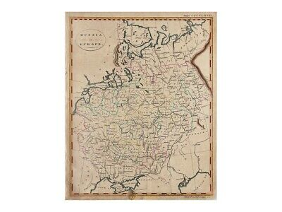 Russia in Europe antique map by Bell 1860