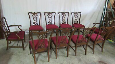 Set Drexel Dining Room Chairs Chippendale Mahogany Ten