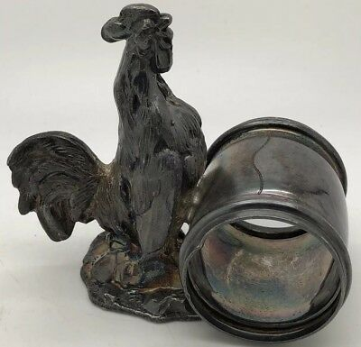 """Pairpoint 1870's Rooster Figural Napkin Ring Holder Quadruple Silverplate 3.5""""x4"""