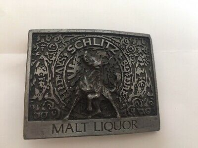 Schlitz Malt Liquor Metal Belt Buckle beer Silver color