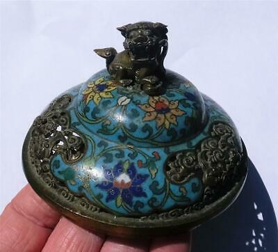 ANTIQUE CHINESE CLOISONNE PIERCED GILDED BRONZE/BRASS COVER with LION DOG & BATS