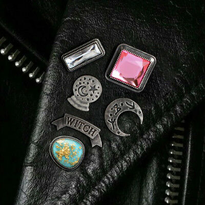 Lot 6 Pin Gothic Brooch Stones Witch Essential Pin's Broche Moon Dark Gothique