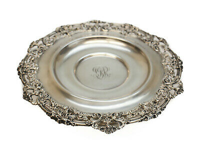 Gorham Mfg Co Sterling Silver Pedestal Cake Plate #A6837, 1907. Floral Swags