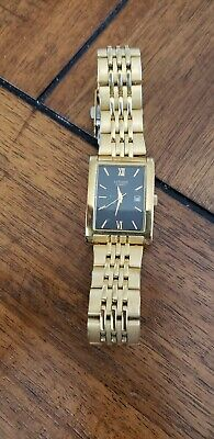 Citizen Quartz Square Face Mens Watch Gold Band With Black Face