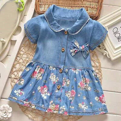 Baby Girl Short Sleeve Princess Dress Outfit Denim Party Blue Sundress Clothes