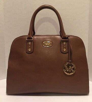 77d3275c35 MICHAEL KORS HUDSON Cuir Marron Foncé Sac Cartable Grand Sac à Main ...
